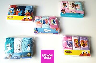 NEW Girls/Boys 2-3-4-5 Cotton Frozen Dory Furchester Hotel Briefs Knickers x3