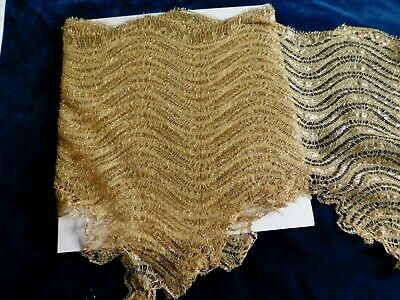 300 X 28 Cm Antique Fine Gold Metallic Lace Flounce / Trim / Edging