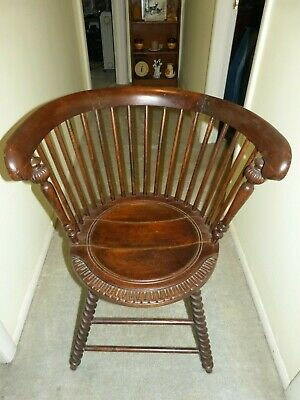 Late 1800's Antique Bentwood Tub Shaped Spindle Back Chair