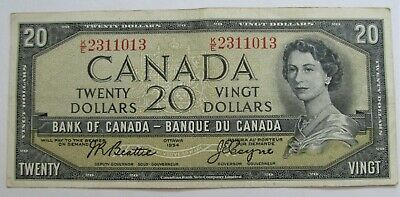 1 1954 20 DOLLAR BANK OF CANADA BANKNOTE K/E2311013 VF to VF+ - combined ship