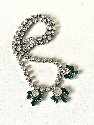 Vintage Art Deco Clear & Green Diamante Rhodium Plated Necklace - 15inch