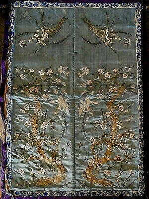 Antique Finely Embroidered Chinese Silk Panel Cranes /Butterflies /Flowers /Tree