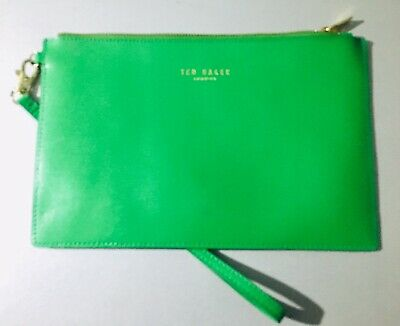 Ted Baker Green Leather Clutch Bag, Detachable Wristlet. NEW