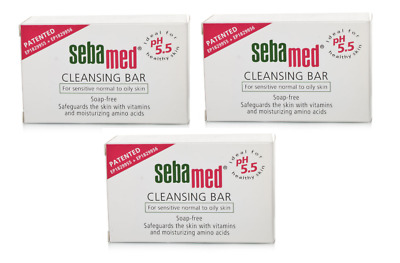 THREE Sebamed  SOAP-FREE pH 5.5 CLEANSING BAR 150g Sensitive Normal to Oily Skin