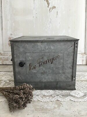 Antique French Metal Woodstove Cabinet