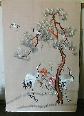 Vintage Chinese Fine Embroidery Panel, Cranes / Tree / Flowers