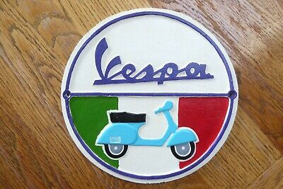 Vespa scooter wall sign cast iron metal painted fantastic 24cm across heavy