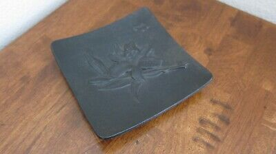 Vintage ~ Cast Iron Metal Dish With Floral Lily & Asian Symbol Engravings ~