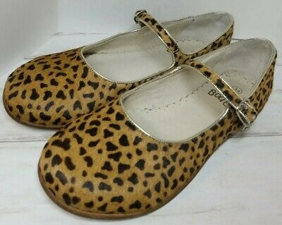 Mini Boden EUC Pony Hair Mary Janes with Leopard Print and Gold Trim Girl's size