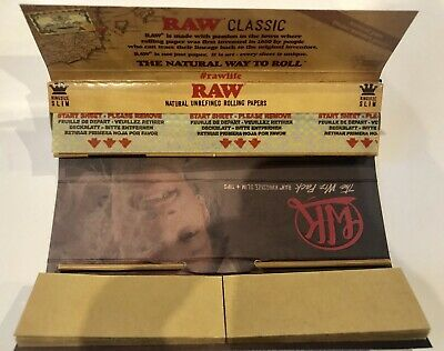 5 Raw Rizla Classic King Size Slim 110Mm Rolling Paper With Roach Filter Tips