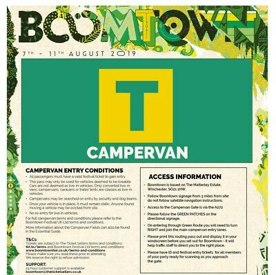 Boomtown Fair 2019 Chapter 11 Campervan South Ticket Pass, Arrival Thur Onwards