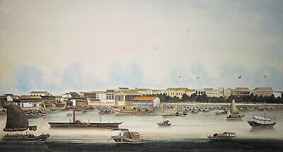 "HUGE! 56""x30"" 19th Century Chinese Trade School Gouache Painting Hongs at Canton"
