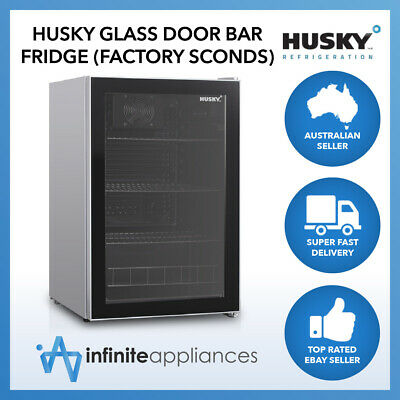 Husky 130L Single Glass Door Under Counter Bar Fridge & Drink Chiller (Seconds)
