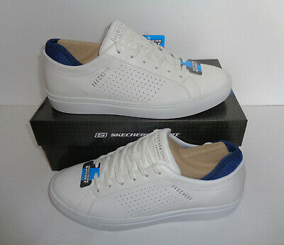 Skechers Mens Memory Foam White Lace Up Trainers Leather Shoes New UK Sizes 8-12