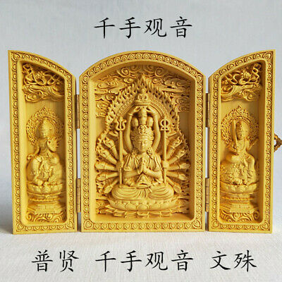 Exquisite China Boxwood carving thousand hand Goddess of mercy statue Box