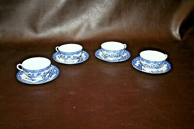 Set of 4 Antique Very Fine Japanese China Flow Blue Style Cups & Saucers