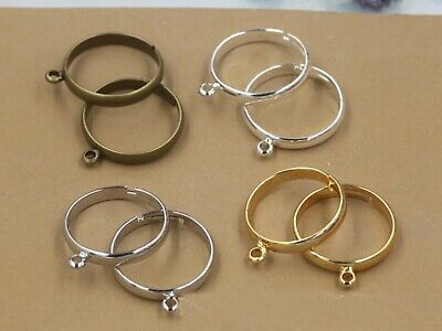 10Pcs Silver Gold Tone Brass Base Adjustable Ring Blanks With Loop Ring Making