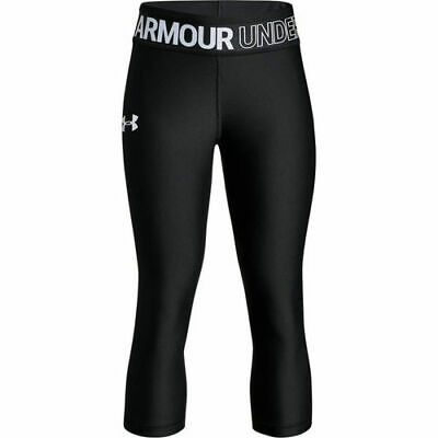Girls Youth Large Under Armour Heatgear Capri Leggings Black Fitted 1305644 $30