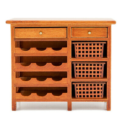 1:12 Furniture Miniature Wooden Wine Cabinet Shelving w/ Drawers Hutch Dollhouse