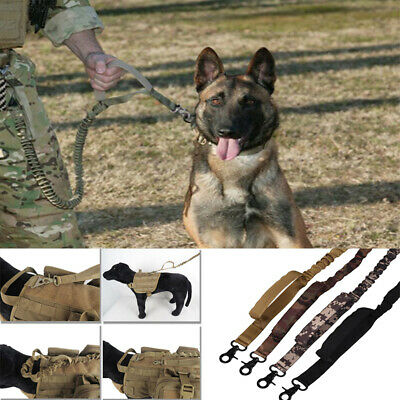 Dog Tactical Leash Elastic Strap Adjustable Training Military Army Puppy Braided