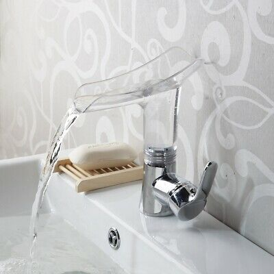Bathroom Sink Faucet Waterfall Spout Deck Mount Single Handle&Hole Mixer Tap