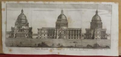 London St Paul's Cathedral England 1743 Salmon Antique Copper Engraved View