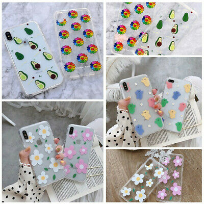 For iPhone XS Max XR 8 7+ Shockproof Soft Cute Silicone Pattern Clear Case Cover