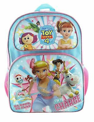 """New~16""""Toy Story 4  Full Size School Book Backpack Side Pocket Featuring Bo Peep"""