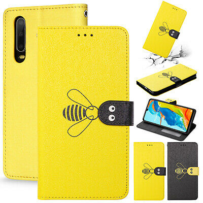 For Huawei Y6 2019 Case Honor V20 8X 8C 7X Bee Painted Leather Flip Wallet Cover