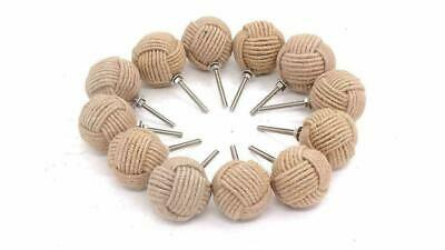 Lot of 12 Monkey Fist Jute Rope Shelves Drawer Knobs (6 Pair)