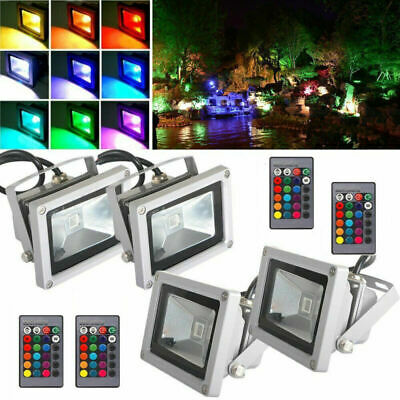 Waterproof 10W RGB LED Outdoor Color Changing Flood Spot light Garden Lamp Remot