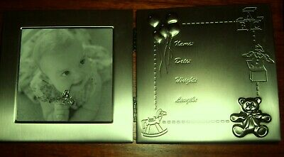 BABY PHOTO FRAME WITCH CAN CONTAIN ETCHED BABIES BIRTH DETAILS great present