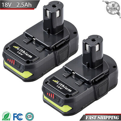 2.5Ah 18V For Ryobi 18Volt One Plus Lithium-Ion Battery P108 P104 P105 P107 2pcs