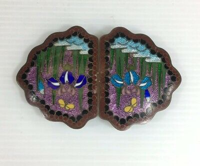 Fine Chinese Cloisonne Belt Buckle Butterfly Colourful 8cm In Width