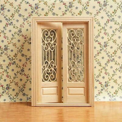 1:12 Dollhouse Miniature Wood Double Door Can Be Painted ss.US H4F8