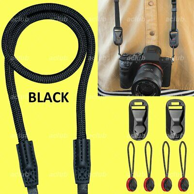 Quick Connect Adjustable Climbing Rope Camera Loop Strap BLACK with Anchor Links