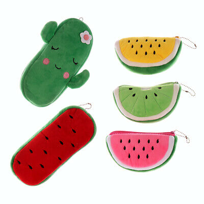 Women Fruits Watermelon Strawberry Plush Coin Purses Coin Pouch Wallet Bags New