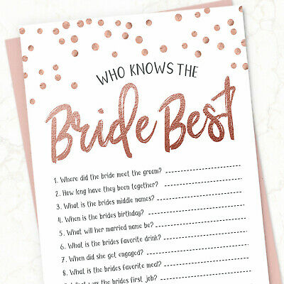 10x Who Knows the Bride Best Cards Hen Party Games Quiz - Bridal Shower Wedding