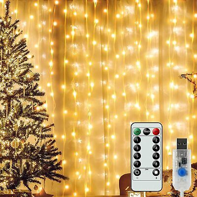 300LED Copper Fairy Light Curtain String Waterproof Telecontrol Wedding Party