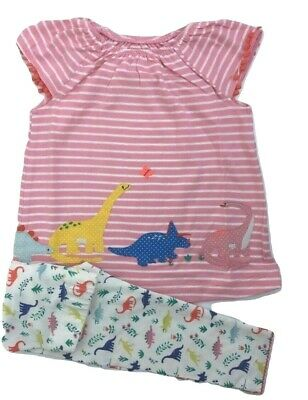 Ex Boden Baby Dino Stripe Top & Legging Set Pink Age 0-24 Months 2-4 Yrs RRP £28