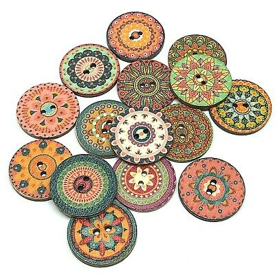 12 X Large Rich Colour Mandala Buttons 25Mm -  See Offer X
