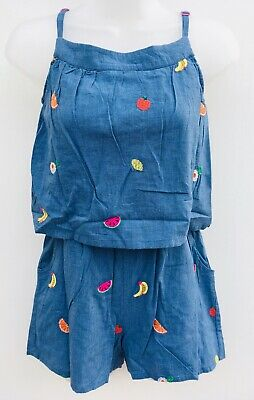 Ex Boden Girls Playsuit  Blue Fruits Ex Mini Boden Age 4-16 Years RRP £37