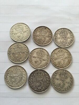 9 George V Silver Three Pences