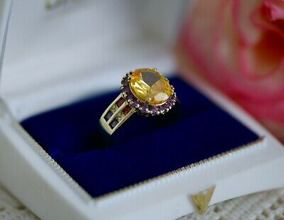 Vintage Jewellery Ring With Citrine Ruby Amethyst Antique Art Deco Dress Jewelry