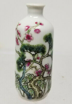 Antique Chinese Republic Period Enamel Painted Snuff Bottle Jiaqing Reign Mark