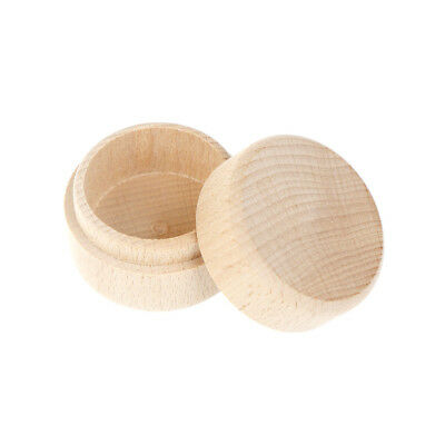 Round Wooden Wedding Ring Jewelry Trinket Box Wood Storage Container Case~PL