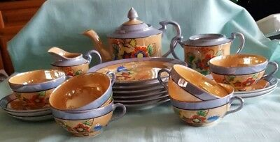 Vintage Tea Set 21-Piece Japanese Porcelain Lustreware  Peach  Blue With Flowers