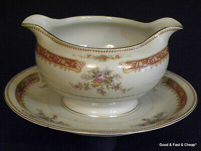 MEITO IVORY china BARCLAY pattern ~ Gravy Boat with Attached Under Plate ~