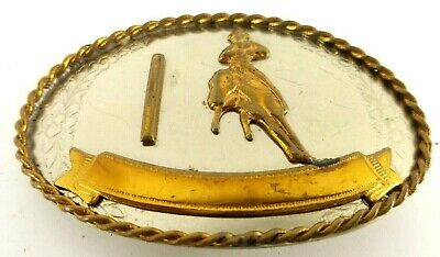 "Western Cowboy Bucking Bronco Rodeo Horse German Silver Belt Buckle 3 1/4"" VTG"