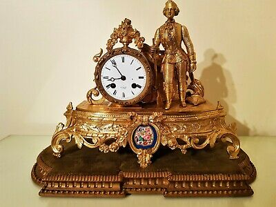 Antique French Gilt & Porcelain Panel Mantel Clock.